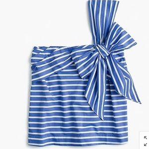 JCrew one shoulder blue stripe bow top NWT sz 6 S